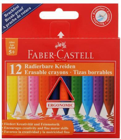 Восковые мелки Faber Castell Grip стирающиеся 12 штук 12 цветов от 3 лет 122520