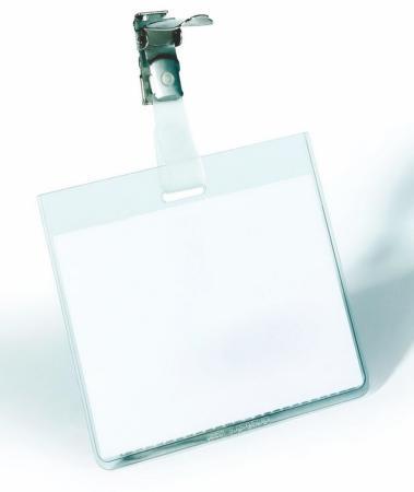 Бейдж Durable горизонтальный 90x60мм вращающийся клип 25шт 800319 цена и фото