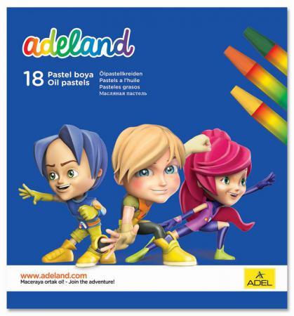 Восковые мелки Adel ADELAND шестиугольные 11.5 мм 18 штук 18 цветов от 3 лет 428-0857-100 мелки восковые color peps wax 18 цветов 861012