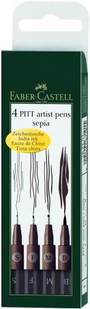 Набор капиллярных ручек Faber-Castell Pitt Artist Pen 4 шт сепия 0.3 мм 167101 faber pareo