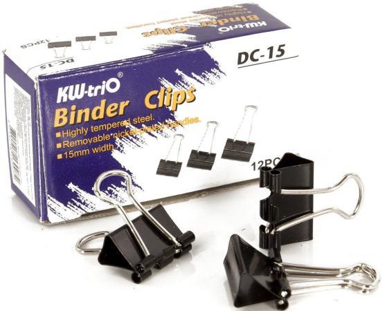 лучшая цена Зажим для бумаг KW-trio DC-15 12 шт 15 мм черный