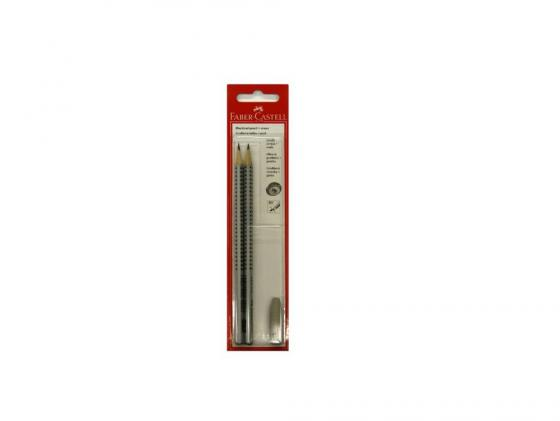 Карандаш чернографитный Faber-Castell Grip 2001 HB/B ластик колпачок 2 шт+1шт 263301 faber castell ластик grip 2001 цвет синий