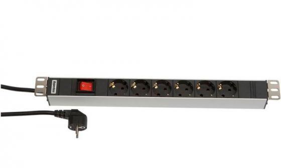 Блок розеток Hyperline SHT19-6SH-S-2.5EU 6 розеток 2.5 черный блок электрических розеток tlk tlk rs08m1n bk 19