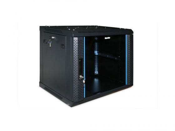 Шкаф настенный 19 9U Hyperline TWFS-0966-GP-RAL9004 500x600х600 стеклянная дверь с перфрацией по бокам ручка с замком черный разобранный 2 коробки микропроцессорная контрольная панель hyperline tmpc 230v ral9004