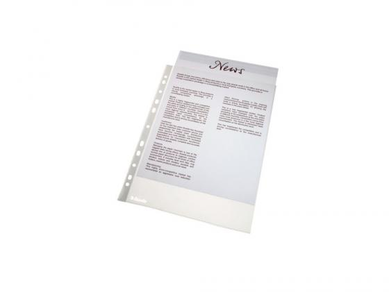 Папка-вкладыш Esselte с перфорацией A4 48мкр прозрачный матовый 100шт 56171 папка регистратор esselte economy 10782p a4 75мм желтый