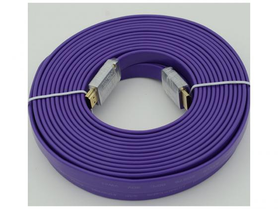 Кабель HDMI 10.0м Ver.1.4 FLAT Purple jack позолоченные контакты плоский кабель соединительный 0 5м hama 3 5 jack m 3 5 jack m позолоченные контакты черный 00173871