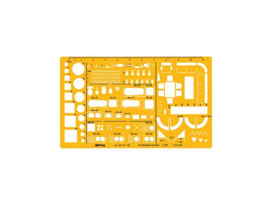 Шаблон архитектурный Rotring Architekt 250x150x12 мм мастшаб 1:50 пластик желтый S0238711 цена и фото