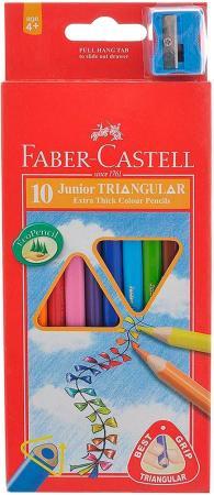 Карандаши цветные Faber-Castell Junior Grip 10 шт 116538-10 faber castell классические цветные карандаши 60 цветов цветные цвета карандаши окрашенные краски карандаши карандаши 115860 подарочный знак резина