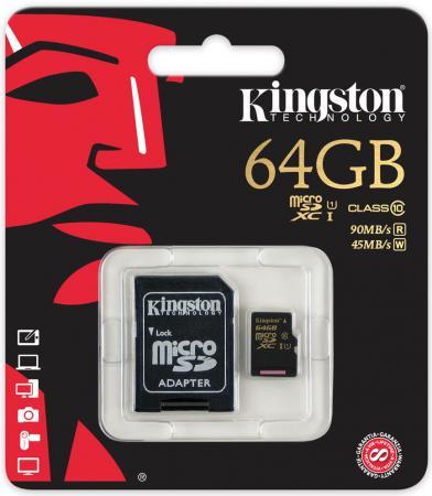 Карта памяти Micro SDXC 64GB Class 10 Kingston SDCA10/64GB + адаптер SD карта памяти micro sdxc kingston sdca10 64gb