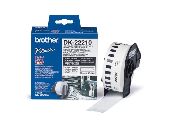 Бумажная клеящаяся лента 29ммх30.5м Brother DK22210 velante потолочная люстра velante 710 107 03