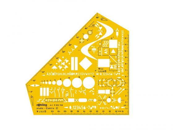 Шаблон электроинжинерный Rotring Studio пластик желтый S0238591 rotring rapid pro metal mechanical pencil