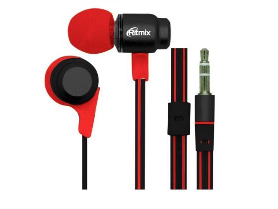 Наушники Ritmix RH-185 черно-красный наушники ritmix rh 136 metal bronze черно коричневый