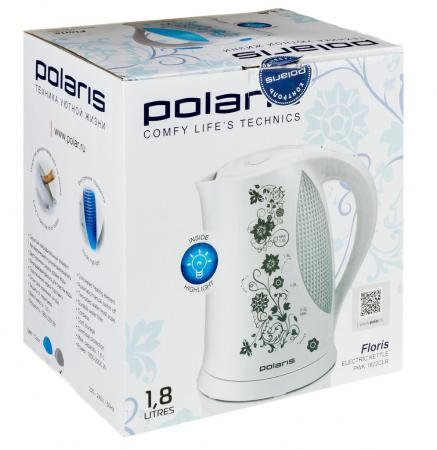 Чайник Polaris PWK 1822CLR 2200 Вт 1.8 л пластик белый голубой чайник polaris pwk 1822clr 1 8 л пластик