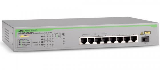 Коммутатор Allied Telesis AT-GS900/8PS-50 неуправляемый 8 портов 10/100/1000Mbps PoE+ 1SFP коммутатор allied telesis at gs950 10ps 50 8 портов 10 100 1000mbps poe sfp