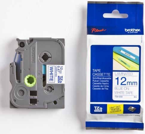 Плёнка для наклеек Brother TZE-233 синий шрифт на белой основе 12ммx8м плёнка для наклеек brother tze 661 чёрный шрифт на жёлтой основе 36мм 8м