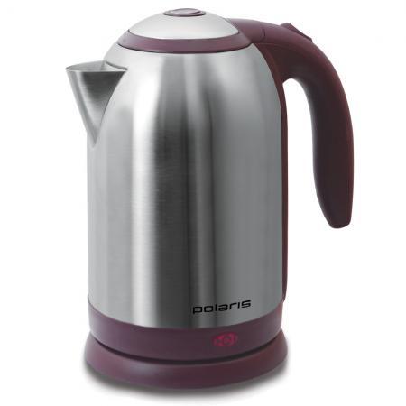 Чайник Polaris PWK 1864CA 1800 Вт 1.8 л металл серебристый бордовый электрический чайник polaris pwk 1864ca pwk 1864ca