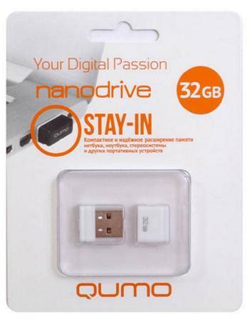 Флешка USB 32Gb QUMO NanoDrive USB2.0 белый QM32GUD-NANO-W usb 2 0 qumo 16gb nano [qm16gud nano w] white