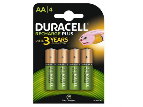 Аккумулятор 1300 mAh Duracell HR6-4BL AA 4 шт аккумулятор duracell hr6 2bl aa 2400mah блистер 2 шт