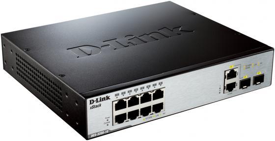Коммутатор D-LINK DES-3200-10/C1A управляемый 8 портов 10/100Mbps 2 combo GbLAN/SFP коммутатор switch d link des 3200 10