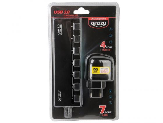 Концентратор USB Ginzzu GR-388UAB 7 портов + адаптер концентратор usb 2 0 ginzzu gr 487uab адаптер