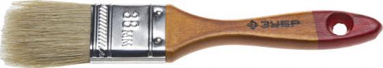 купить Кисть плоская Зубр УНИВЕРСАЛ-МАСТЕР натуральная щетина деревянная ручка 38мм 4-01003-038 по цене 30 рублей