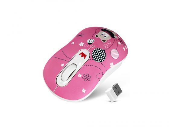 Мышь беспроводная Crown CMM-928W розовый рисунок USB CM000001190