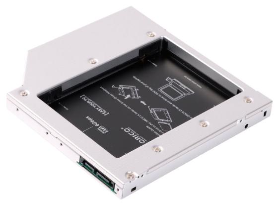 Адаптер HDD в отсек оптического привода ноутбука Orico L127SS-SV 2.5 SATA1 черный orient uhd 2m2c12 шасси для ssd m 2 ngff для установки в sata отсек оптического привода ноутбука 12 7 мм