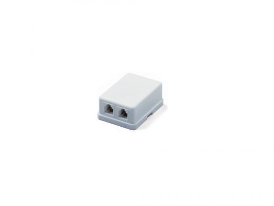 Розетка телефонная Hyperline SB-2-6P4C-C2-WH RJ-12 (6P4C) двойная внешняя белый shengwei телефонная линия 4 основной факс стационарный многожильный плоский 15 м белый 6p4c завершенный удлинитель rj11 tc 1150b