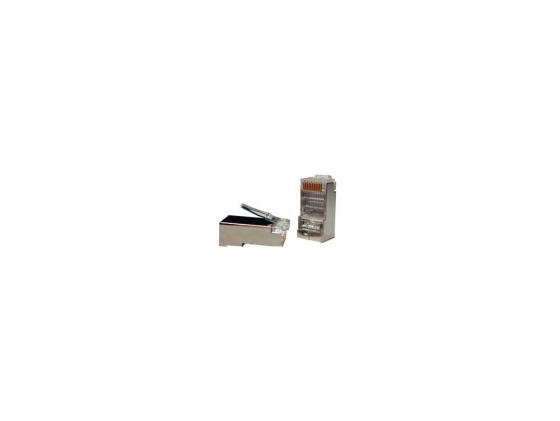 Коннектор Hyperline PLUG-8P8C-U-C5-SH Разъем RJ-45 8P8C категория 5е экранированный кабель питания монитор системный блок 5 0м hyperline pwc iec13 iec14 5 0 bk