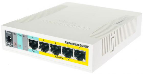 Коммутатор Mikrotik RB260GSP 5x10/100/1000Mbps PoE mikrotik routerboard rb260gsp