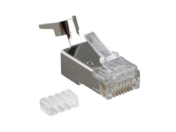 Коннектор Hyperline PLUG-8P8C-UV-C6-TW-SH10 RJ-45(8P8C) категория 6 со вставкой экранированный с зажимом tede td 315 modular plug crimper pliers tool w cutter for 8p8c network cable black dark blue