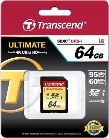 Карта памяти SDXC 64GB Class 10 Transcend TS64GSDU3 transcend jetdrive lite 330 64gb карта памяти для macbook pro retina 13