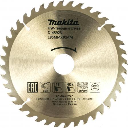 Диск пильный Makita Standard 185 ммx30 мм 40зуб D-45923 пильный диск makita standard d 45864 165х20 мм