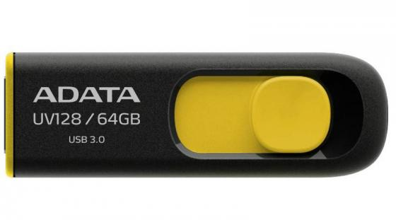 Фото - Флешка USB 64Gb A-Data UV128 USB3.0 AUV128-64G-RBY черный/желтый usb flash drive 64gb a data dashdrive uv128 usb 3 0 auv128 64g rby