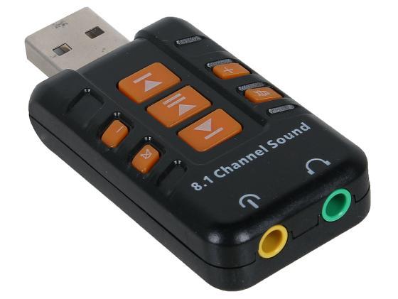 Переходник USB 2.0 - 2xJack3.5mm ORIENT AU-01PL переходник usb jack 3 5 mm orient au 03 30418