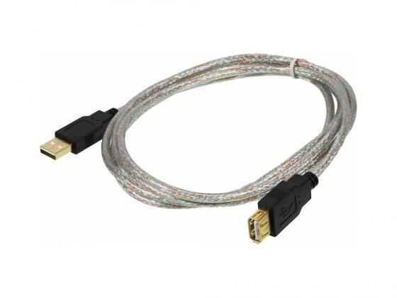 Фото - Кабель удлинительный USB 2.0 AM-AF 1.8м Ningbo прозрачный с позолоченными контактами кабель удлинительный usb 2 0 am af 0 75м buro usb2 0 am af 0 75m
