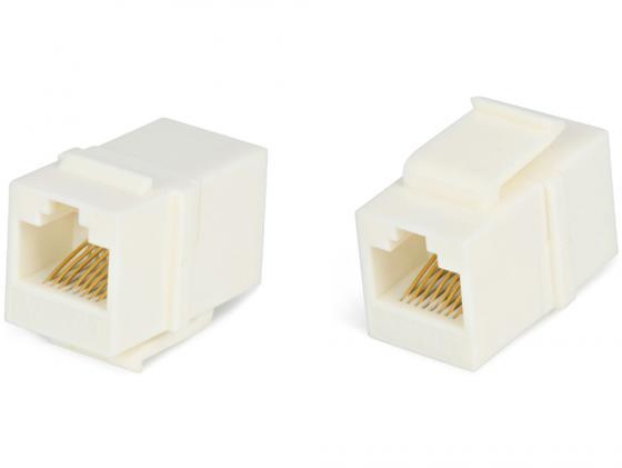 Проходной адаптер Hyperline CA2-KJ-C5e-WH для RJ-45(8P8C) категория 5e 4 пары белый кабель питания монитор системный блок 5 0м hyperline pwc iec13 iec14 5 0 bk