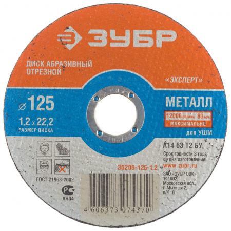 Отрезной круг Зубр абразивный 125x1.2x22.2 по металлу 36200-125-1.2_z01 цены