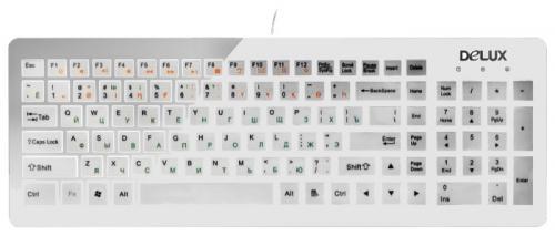Клавиатура проводная Delux DLK-1500U USB белый клавиатура delux dlk 1500 usb черный