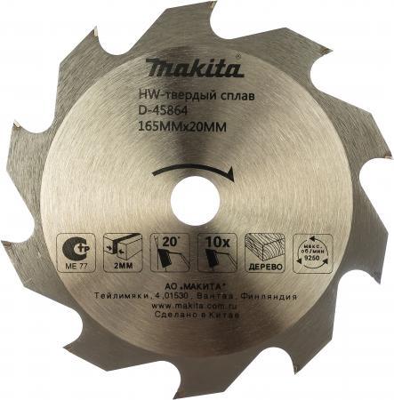 Диск пильный Makita Standard 165 ммx20 мм 10зуб D-45864