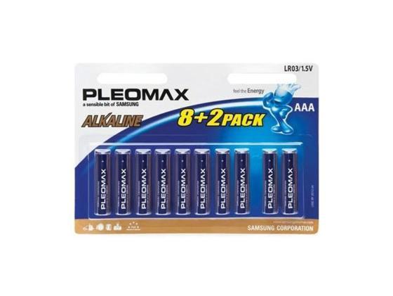 Батарейки Samsung Pleomax AAA 10 шт LR03-8+2BL батарейки samsung pleomax lr6 2bl 2 шт aa