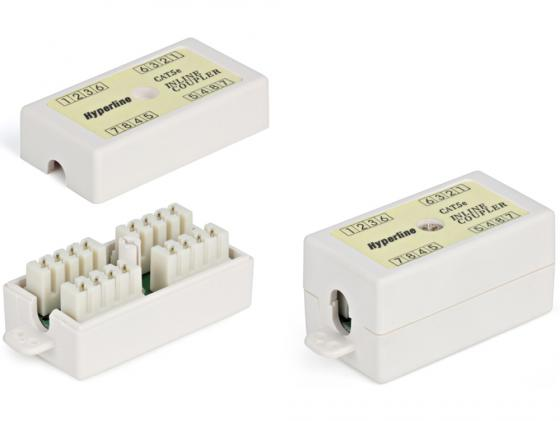 Проходной адаптер Hyperline 110&Krone кат.5е 4 пары CA-IDC-C5e-WH кабель питания монитор системный блок 5 0м hyperline pwc iec13 iec14 5 0 bk