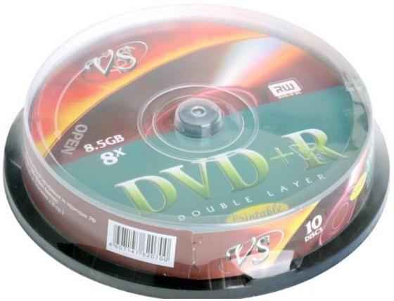 Диски DVD+R double layer VS 8x 8.5Gb CakeBox 10шт Printable 62070 dvd r vs 4 7gb 16х 10шт cake box