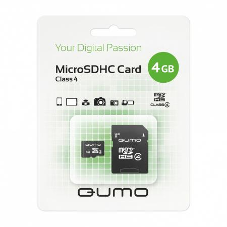Карта памяти Micro SDHC 4Gb class 4 QUMO QM4GMICSDHC4 + SD adapter стоимость