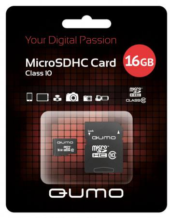 Карта памяти Micro SDHC 16Gb class 10 QUMO QM16GMICSDHC10 + SD adapter карта памяти micro sdhc 8gb class 10 qumo qm8gmicsdhc10 sd adapter