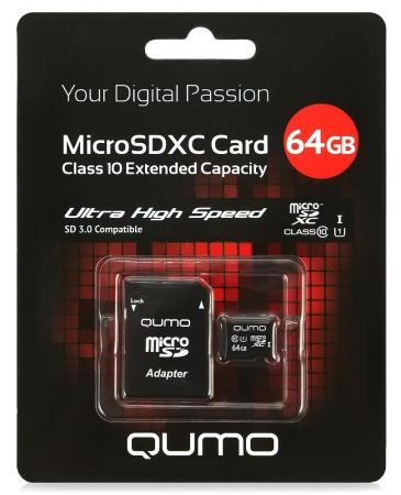 Карта памяти Micro SDXC 64Gb class 10 UHS-I QUMO QM64GMICSDXC10U1 + SD adapter samsung micro sdhc tf card 64gb class 10 w tf to sd card adapter orange 64gb