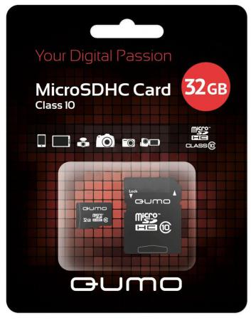 Карта памяти Micro SDHC 32Gb class 10 QUMO QM32GMICSDHC10U1 + SD adapter карта памяти micro sdhc 8gb class 10 qumo qm8gmicsdhc10 sd adapter