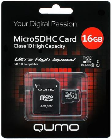 Карта памяти Micro SDHC 16Gb class 10 UHS-I QUMO QM16GMICSDHC10U1 + SD adapter genuine samsung tf micro sd to card adapter