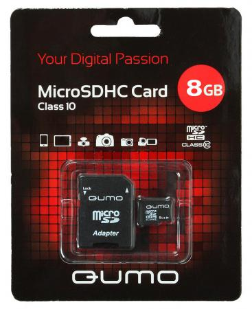 Карта памяти Micro SDHC 8Gb class 10 QUMO QM8GMICSDHC10 + SD adapter карта памяти micro sdhc 8gb class 4 qumo qm8gmicsdhc4 sd adapter