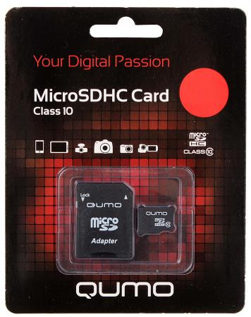 Карта памяти Micro SDHC 4Gb class 10 QUMO QM4GMICSDHC10 + SD adapter карта памяти micro sdhc 8gb class 10 qumo qm8gmicsdhc10 sd adapter